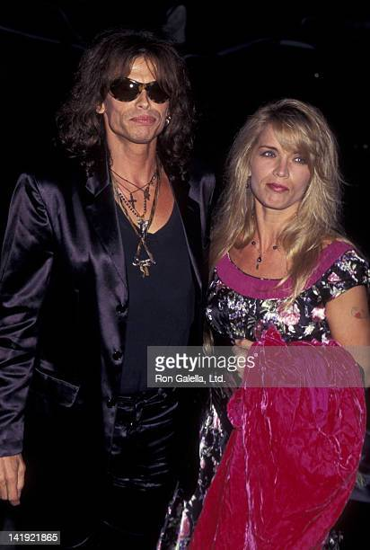 Steven Tyler and wife Teresa Barrick attend the premiere of Stealing Beauty on June 11 1996 at the Sony 19th Street East Theater in New York City