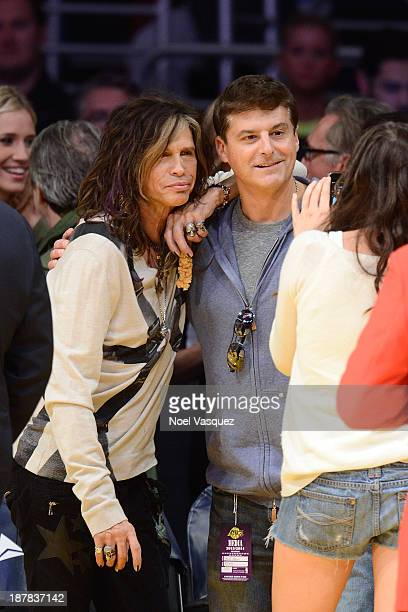 Steven Tyler attends a basketball game between the New Orleans Pelicans and the Los Angeles Lakers at Staples Center on November 12 2013 in Los...