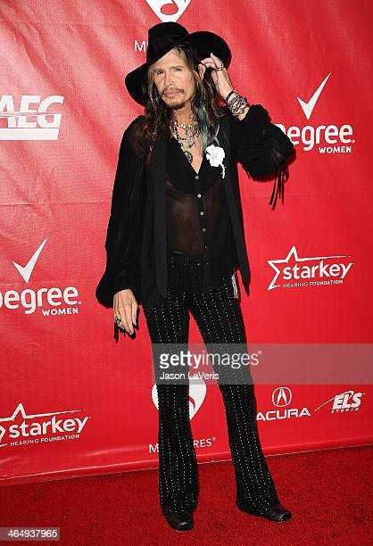 Steven Tyler attends the 2014 MusiCares Person of the Year honoring Carole King at Los Angeles Convention Center on January 24 2014 in Los Angeles...