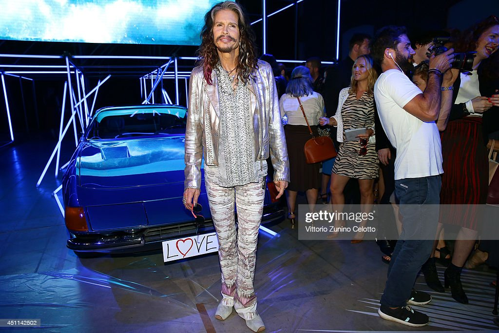 Steven Tyler attends the Roberto Cavalli show during the Milan Menswear Fashion Week Spring Summer 2015 on June 24, 2014 in Milan, Italy.