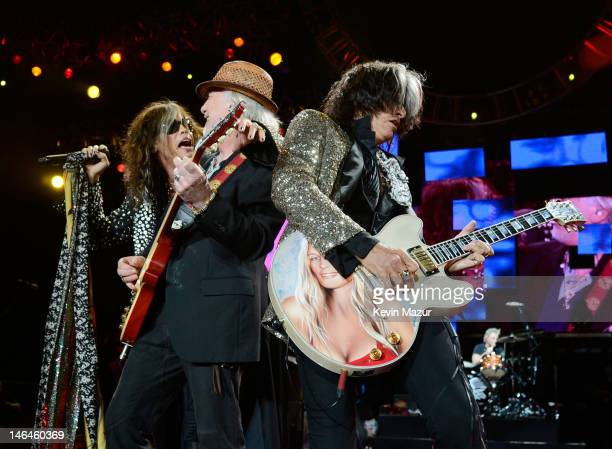 Steven Tyler Brad Whitford and Joe Perry of Aerosmith perform during the opening night of the Global Warming Tour at the Target Center on June 16...