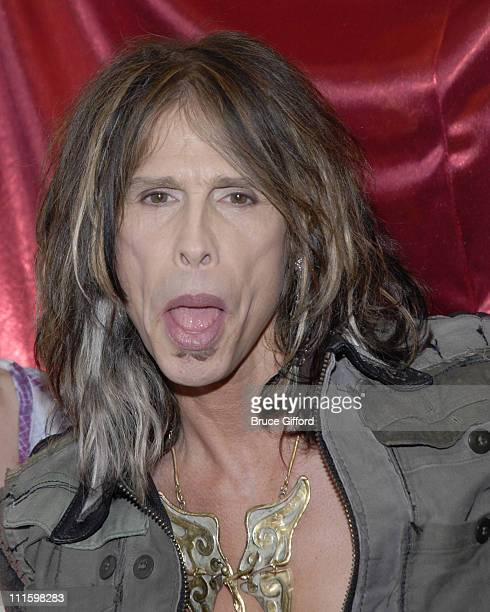 Steven Tyler during Steven Tyler Inducts Memorabilia Display Case at the Hard Rock Hotel Casino at Hard Rock Hotel Casino in Las Vegas NV United...