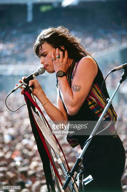Steven Tyler, former of the American rock band Aerosmith, performs on stage at the Day of the Green concert, Oakland, California, July 1978.