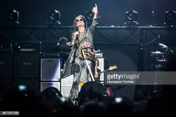 Steven Tyler front man of the band Aerosmith in concert at Firenze Rocks Festival Florence Italy 23rd June 2017