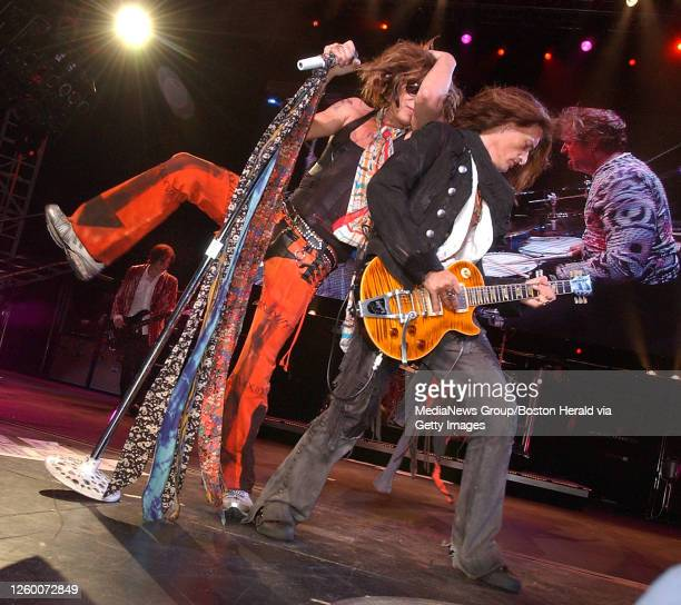 Steven Tyler, Joe Perry and drummer Joey Kramer of Aerosmith rock the Tweeter Center, September 26, 2006 in Mansfield.