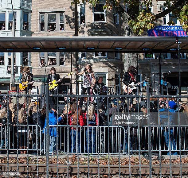Steven Tyler Joe Perry Brad Whitford Tom Hamilton and Joey Kramer of Aerosmith performing in front of 1325 Commonwealth Avenue in Boston MA on...