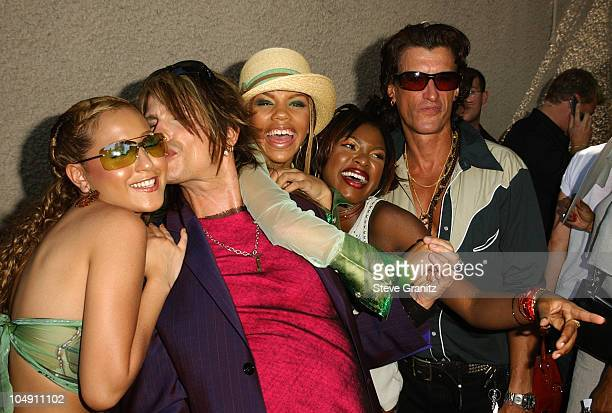 Steven Tyler Joe Perry of Aerosmith with 3LW during 2001 Teen Choice Awards Arrivals at Universal Amphitheater in Universal City California United...