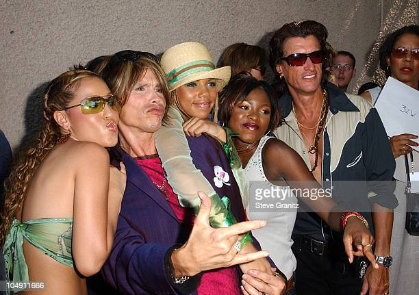 Steven Tyler Joe Perry with 3LW during 2001 Teen Choice Awards Arrivals at Universal Amphitheater in Universal City California United States