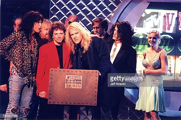 Steven Tyler Joey Kramer Tom Hamilton Joe Perry of Aerosmith and Madonna at the 1994 MTV Video Music Awards at Radio City Music Hall in New York City...