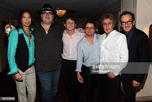 * EXCLUSIVE* Steven Tyler John Popper Sam Fox Michael J Fox Roger Daltrey and Elvis Costello pose backstage during The Michael J Fox Foundation�s...