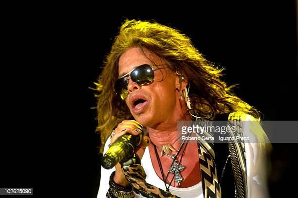 Steven Tyler lead Aerosmith in concert at Henieken Jammin Festival on July 3, 2010 in Mestre, Italy.