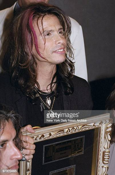 Steven Tyler of Aerosmith backstage at Madison Square Garden where they received plaques in recognition of more than 20 years of sellouts at the...