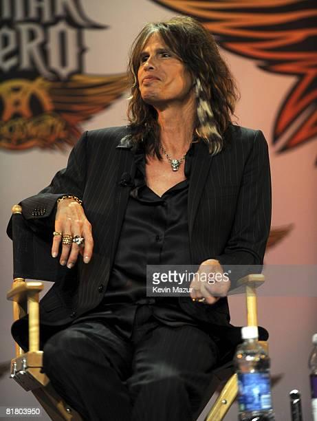 Steven Tyler of Aerosmith celebrates the launch of Aerosmith Guitar Hero at Hard Rock Cafe on June 27 2008 in New York City