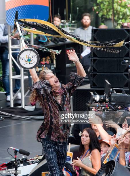 Steven Tyler of Aerosmith during their live performance live on NBC's 'Today' at Rockefeller Plaza on August 15 2018 in New York City