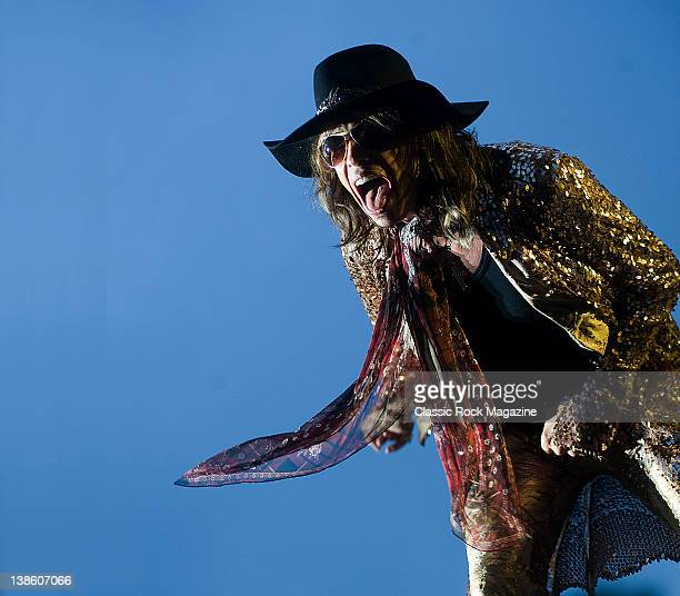 Steven Tyler of Aerosmith, live on stage at Download Festival on June 13 Donington Park.