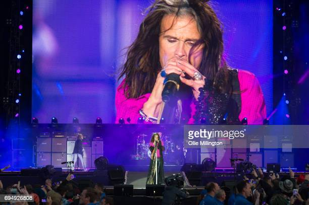 Steven Tyler of Aerosmith peforms during the last ever Aerosmith show in the UK headlining day 3 of Download Festival at Donington Park on June 11...