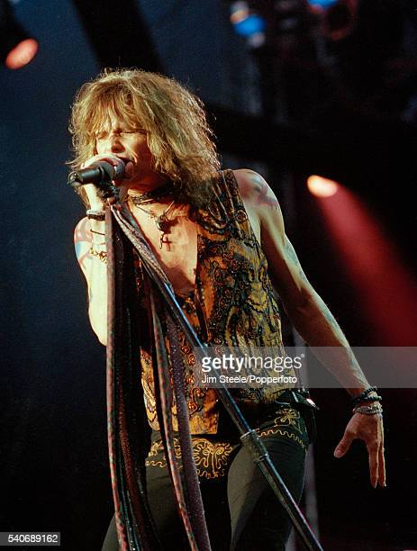 Steven Tyler of Aerosmith performing on stage during the Toxic Twin Towers Ball at Wembley Stadium in London on the 26th June 1999