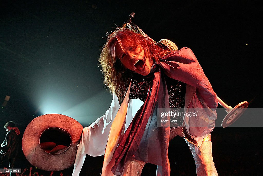 Steven Tyler of Aerosmith performs at 02 Arena on June 15, 2010 in London, England.