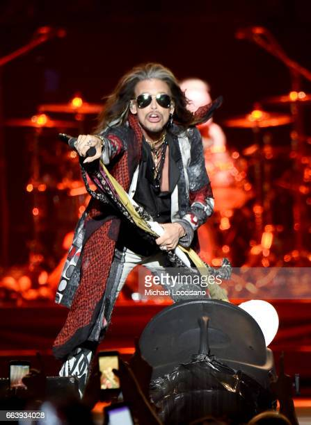 Steven Tyler of Aerosmith performs at the Capital One JamFest during the NCAA March Madness Music Festival 2017 on April 2 2017 in Phoenix Arizona