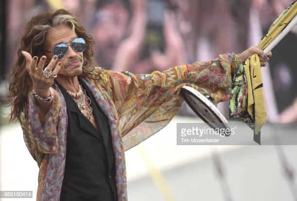 Steven Tyler of Aerosmith performs during the 2018 New Orleans Jazz & Heritage Festival at Fair Grounds Race Course on May 5, 2018 in New Orleans,...