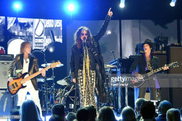 Steven Tyler of Aerosmith performs during the 62nd Annual GRAMMY Awards at STAPLES Center on January 26, 2020 in Los Angeles, California.