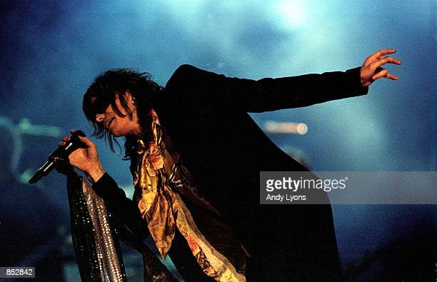 Steven Tyler of Aerosmith performs during the half time show January 28 2001 at Super Bowl XXXV between the Baltimore Ravens and the New York Giants...