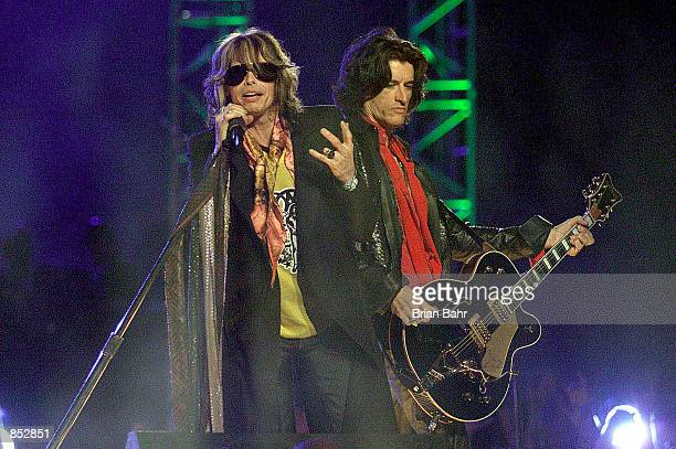 Steven Tyler of Aerosmith performs during the halftime show January 28 2001 at Super Bowl XXXV at Raymond James Stadium in Tampa Florida