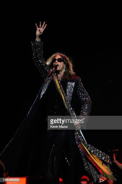 Steven Tyler of Aerosmith performs during the opening night of the Global Warming Tour at the Target Center on June 16 2012 in Minneapolis Minnesota