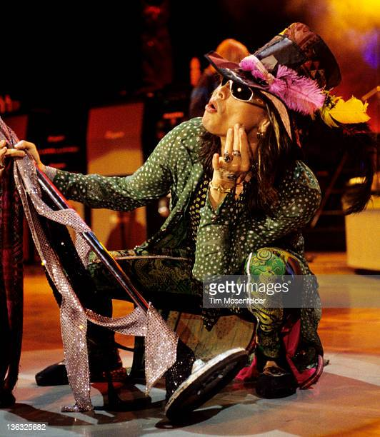 Steven Tyler of Aerosmith performs in support of the bands' Nine Lives release at Shoreline Amphitheatre on October 16 1997 in Mountain View...