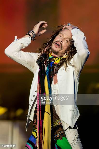 Steven Tyler of Aerosmith performs on Day 3 of the Download Festival at Donington Park on June 15 2014 in Castle Donington England