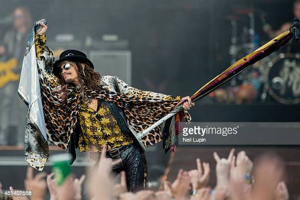Steven Tyler of Aerosmith performs on stage at Calling Festival at Clapham Common on June 28 2014 in London United Kingdom