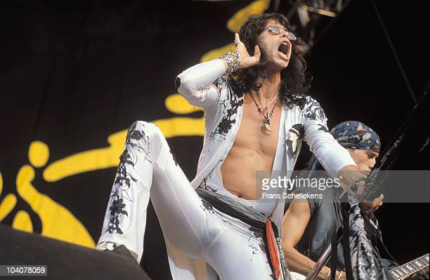 Steven Tyler of Aerosmith performs on stage at Stadion Galgenwaard on 16th August 1990 in Utrecht Netherlands