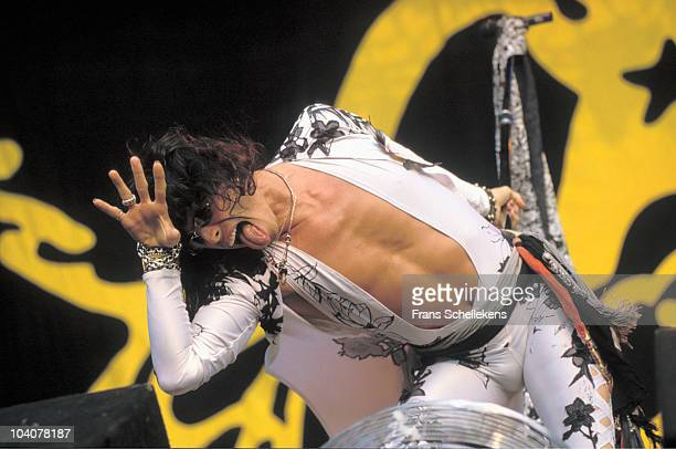 Steven Tyler of Aerosmith performs on stage at Stadion Galgenwaard on 16th August 1990 in Utrecht, Netherlands.
