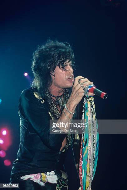 Steven Tyler of Aerosmith performs on stage in August 1988
