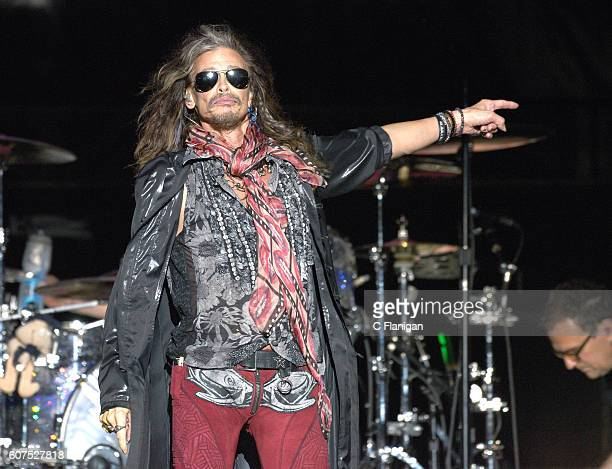 Steven Tyler of Aerosmith performs on the Sunset Cliffs stage during the 2016 KAABOO Del Mar at the Del Mar Racetrack on September 17 2016 in Del Mar...