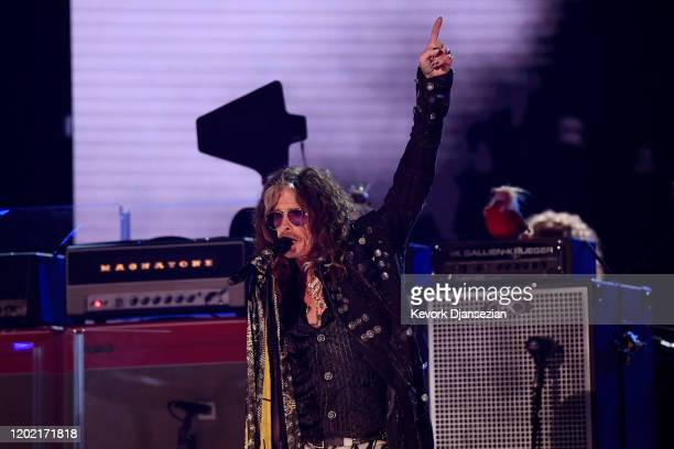 Steven Tyler of Aerosmith performs onstage during the 62nd Annual GRAMMY Awards at Staples Center on January 26 2020 in Los Angeles California