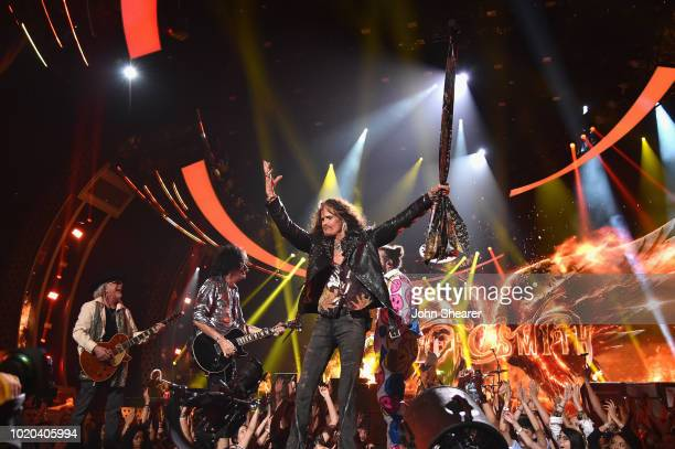 Steven Tyler of Aerosmith performs with Post Malone onstage during 2018 MTV Video Music Awards at Radio City Music Hall on August 20 2018 in New York...