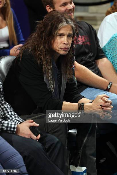 Steven Tyler of Aerosmith watches the game between the New Orleans Hornets and the Los Angeles Lakers on December 5 2012 at the New Orleans Arena in...