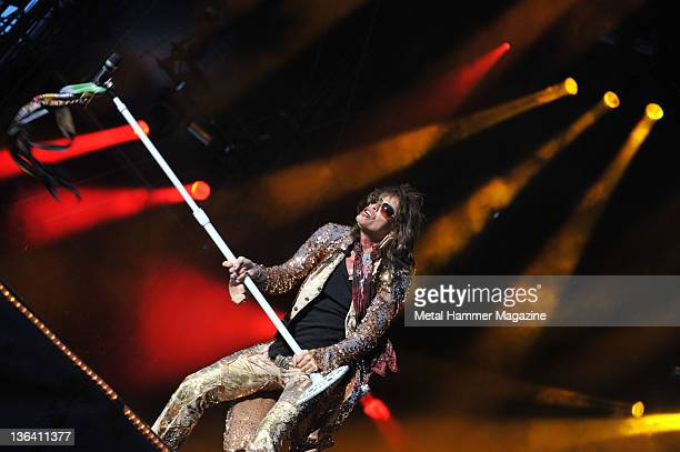 Steven Tyler of American rock group Aerosmith performing live on stage at Download Festival on June 13 2010 at Donington Park