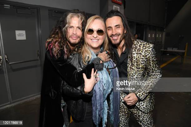 Steven Tyler of music group Aerosmith Melissa Etheridge and Nuno Bettencourt attends MusiCares Person of the Year honoring Aerosmith at West Hall at...