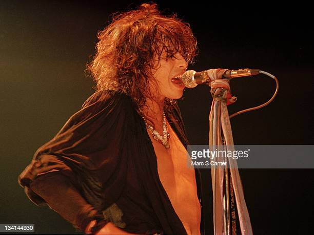 Steven Tyler of the rock band 'Aerosmith' performs onstage at the San Diego Arena on August 6, 1983 San Diego, California.