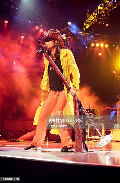Steven Tyler performing with Aerosmith at Madison Square Garden in New York City on August 6 1997