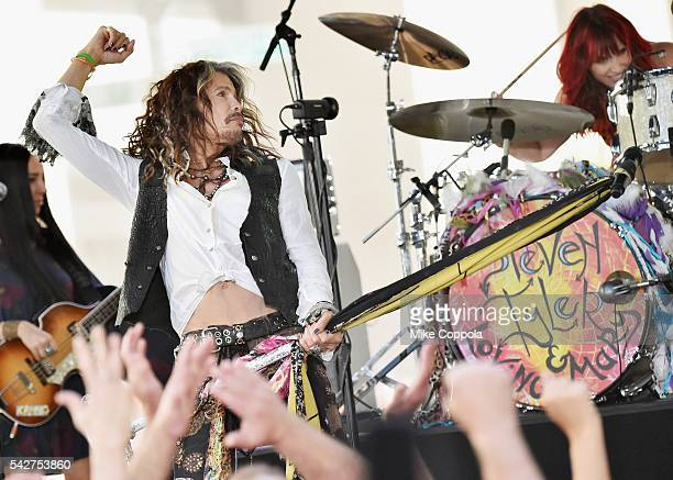 Steven Tyler performs on NBC's Today at Rockefeller Plaza on June 24 2016 in New York City