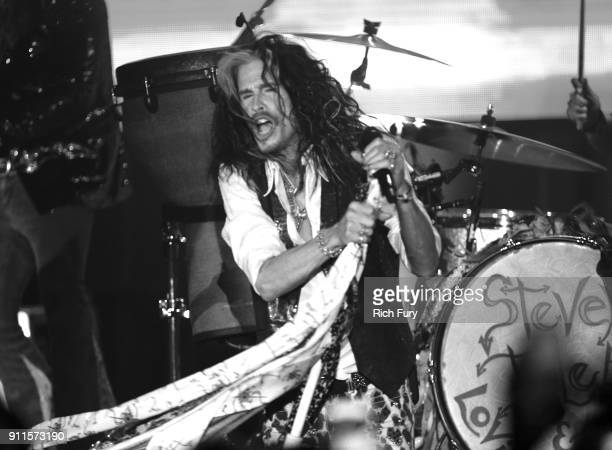 Steven Tyler performs onstage at Steven Tyler and Live Nation presents Inaugural Janie's Fund Gala GRAMMY Viewing Party at Red Studios on January 28...