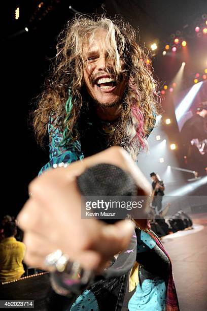 Steven Tyler performs with Aerosmith at Nikon at Jones Beach Theater on July 10 2014 in Wantagh New York