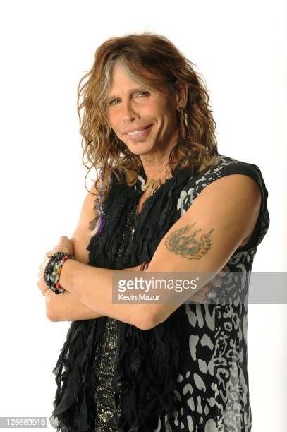 Steven Tyler poses in the portrait studio at the iHeartRadio Music Festival held at the MGM Grand Garden Arena on September 24, 2011 in Las Vegas,...
