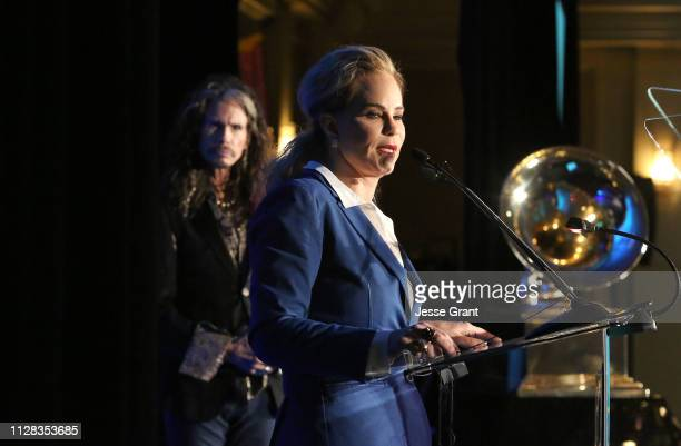Steven Tyler presented attorney Dina LaPolt with the 2019 Entertainment Law Initiative Service Award during the 61st Annual GRAMMY Awards...