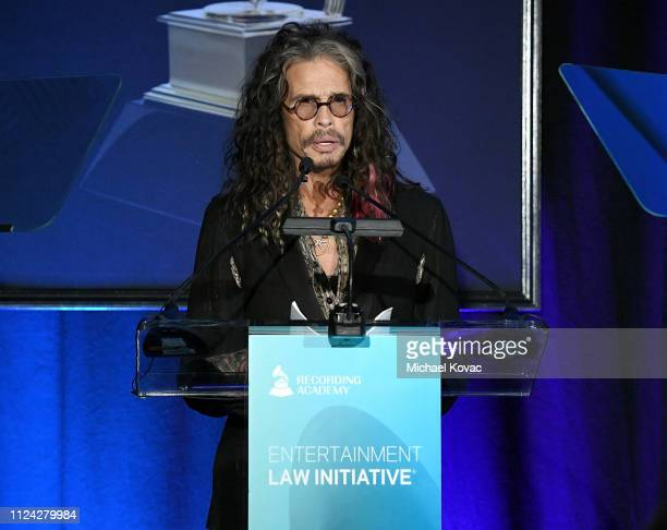 Steven Tyler presents onstage at the 2019 Entertainment Law Initiative Service Award at the 61st Annual GRAMMY Awards Entertainment Law Initiative at...