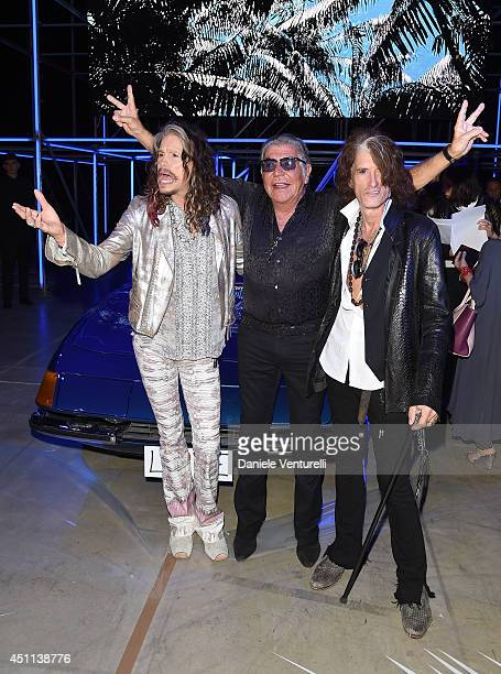 Steven Tyler Roberto Cavalli and Joe Perry attend the Roberto Cavalli show during the Milan Menswear Fashion Week Spring Summer 2015 on June 24 2014...
