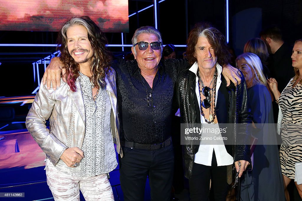 Steven Tyler, Roberto Cavalli and Joe Perry attend the Roberto Cavalli show during the Milan Menswear Fashion Week Spring Summer 2015 on June 24, 2014 in Milan, Italy.